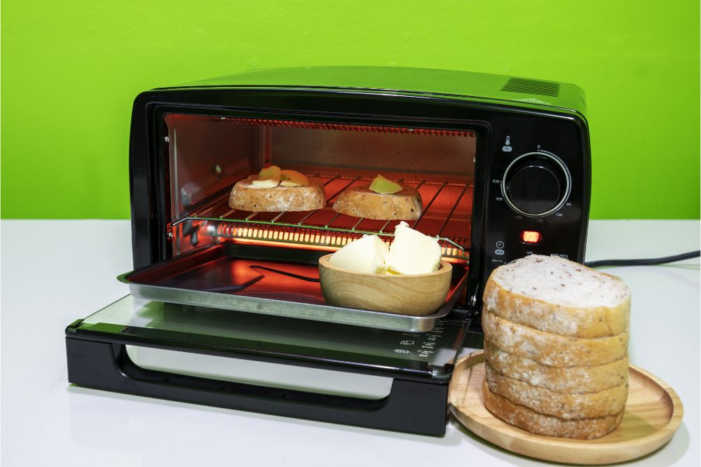 toasting bread in a toaster oven